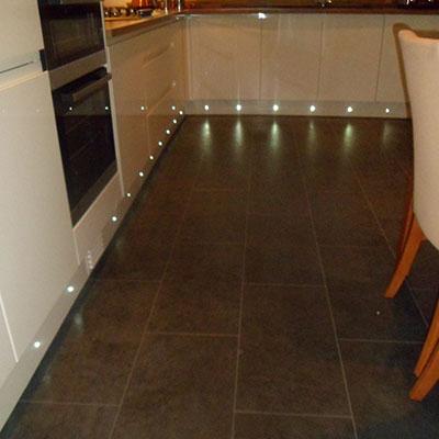 Plinth Lights installed in kitchen in Horsham, West Sussex