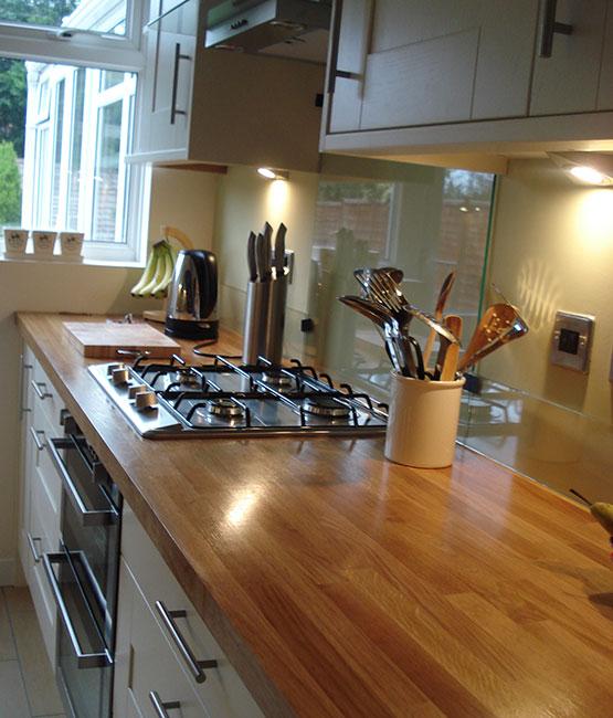 Brand new kitchen installed in Horsham, West Sussex with wooden worktops