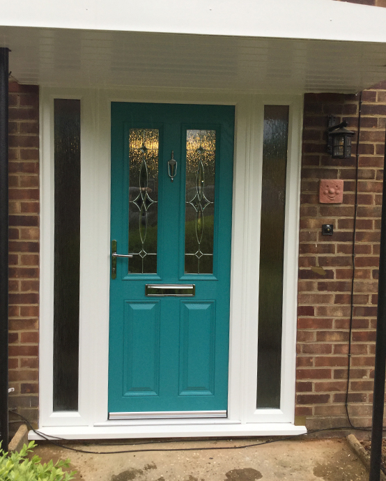 Teal composite door installed in Horsham, West Sussex