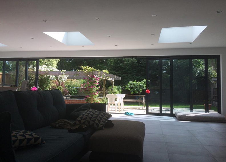 Large sliding aluminium patio doors in Horsham